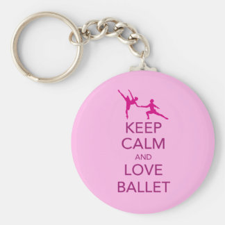 Keep Calm and Love Ballet Gift Print Basic Round Button Key Ring