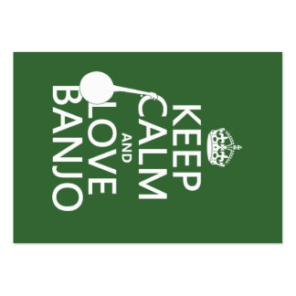 Keep Calm and Love Banjo any background color Business Cards