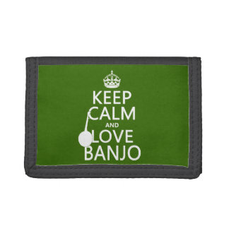 Keep Calm and Love Banjo (any background color) Tri-fold Wallet