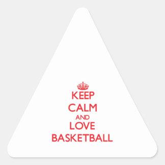 Keep calm and love Basketball Triangle Sticker