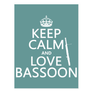 Keep Calm and Love Bassoon (any background color) Postcard