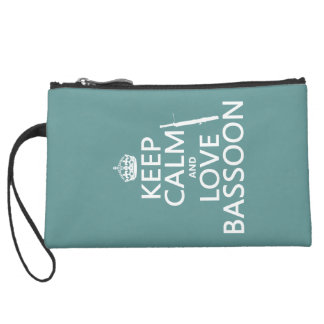Keep Calm and Love Bassoon (any background color) Suede Wristlet
