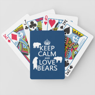 Keep Calm and Love Bears (in all colours) Bicycle Playing Cards