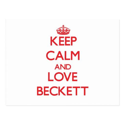 Keep Calm and Love Beckett Post Card