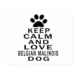 Keep Calm And Love Belgian Malinois Dog Postcard