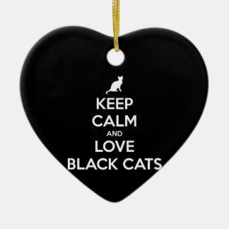 Keep Calm and Love Black Cats Christmas Ornament