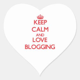 Keep calm and love Blogging Heart Sticker
