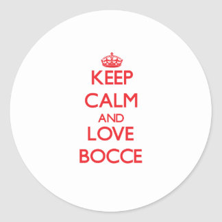 Keep calm and love Bocce Round Stickers
