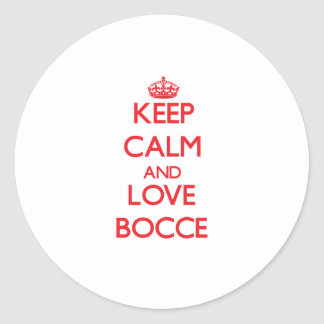 Keep calm and love Bocce Stickers