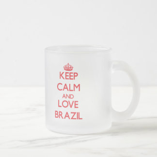 Keep Calm and Love Brazil Frosted Glass Coffee Mug