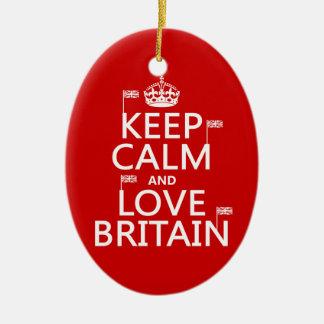 Keep Calm and Love Britain Christmas Ornament