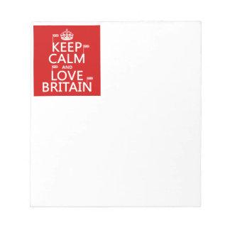 Keep Calm and Love Britain Notepad