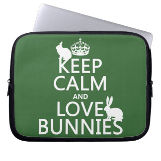 Keep Calm and Love Bunnies - all colors Laptop Sleeve