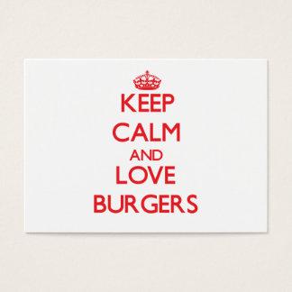 Keep calm and love Burgers Business Card