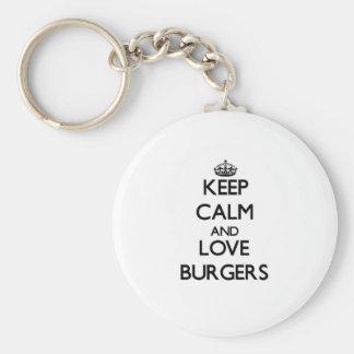 Keep calm and love Burgers Key Chain