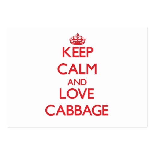 Keep calm and love Cabbage Business Card Template