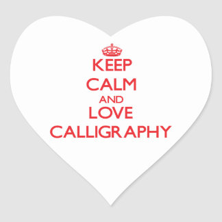 Keep calm and love Calligraphy Heart Sticker
