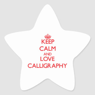 Keep calm and love Calligraphy Star Stickers