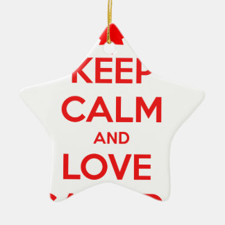 KEEP CALM AND LOVE CANADA CERAMIC STAR DECORATION