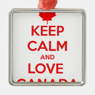 KEEP CALM AND LOVE CANADA Silver-Colored SQUARE DECORATION