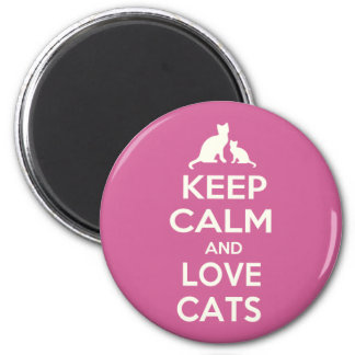 Keep Calm and Love Cats 6 Cm Round Magnet