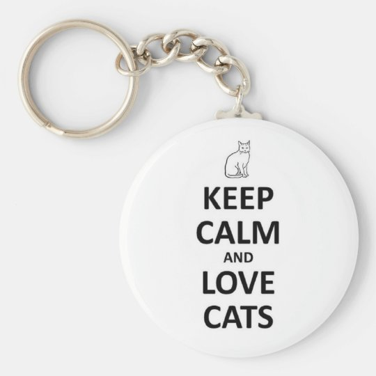 Keep calm and love cats basic round button key ring