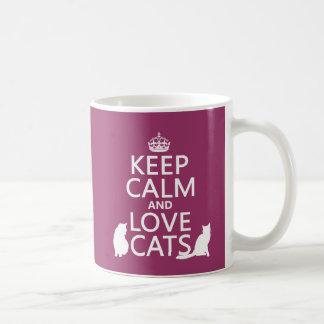 Keep Calm and Love Cats Basic White Mug