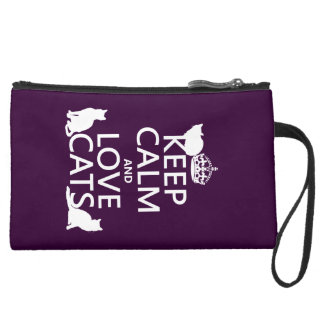 Keep Calm and Love Cats (in any color) Suede Wristlet