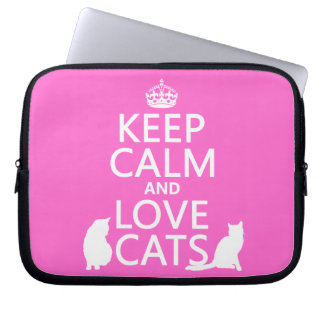 Keep Calm and Love Cats Laptop Sleeve