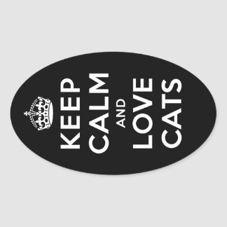 Keep Calm and Love Cats Oval Sticker