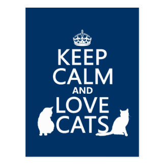 Keep Calm and Love Cats Postcard