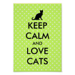 Keep calm and love cats poster | green polka dots