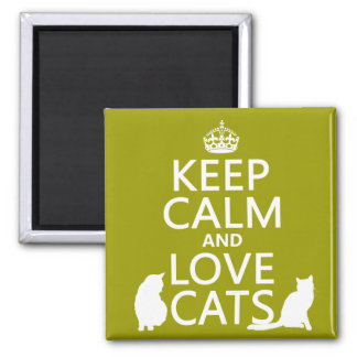 Keep Calm and Love Cats Square Magnet