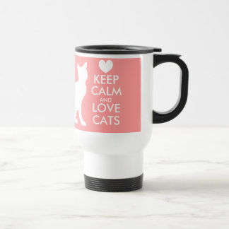 Keep calm and love cats travel mug | Coral color