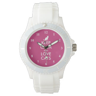 Keep Calm and love cats wrist watch gift