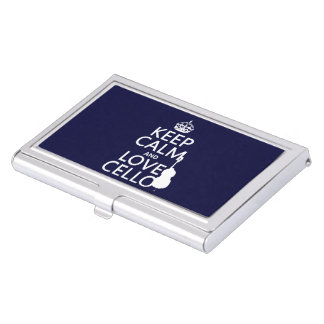 Keep Calm and Love Cello (any background color) Business Card Holder