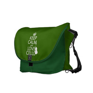 Keep Calm and Love Cello (any background color) Messenger Bags