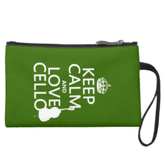 Keep Calm and Love Cello (any background color) Suede Wristlet