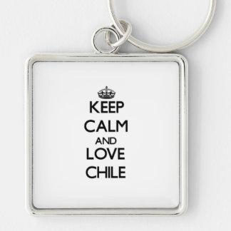 Keep Calm and Love Chile Key Chain