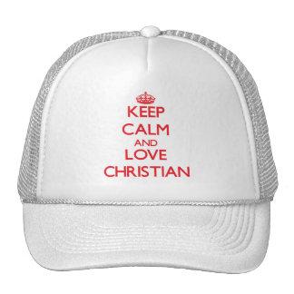 Keep Calm and Love Christian Trucker Hat