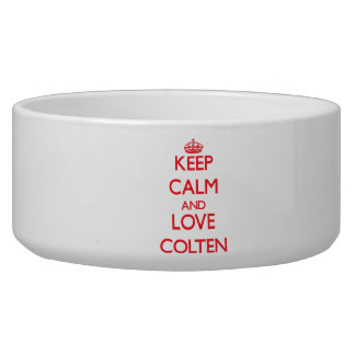 Keep Calm and Love Colten Dog Food Bowl