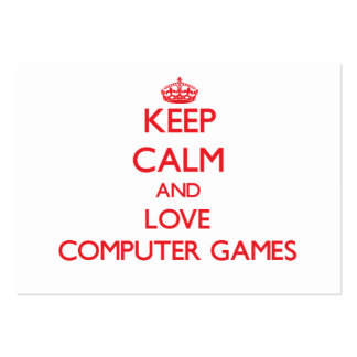 Keep calm and love Computer Games Business Card Template
