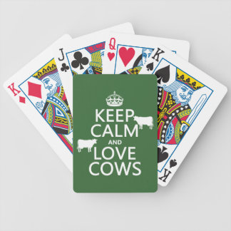 Keep Calm and Love Cows (all colors) Bicycle Playing Cards