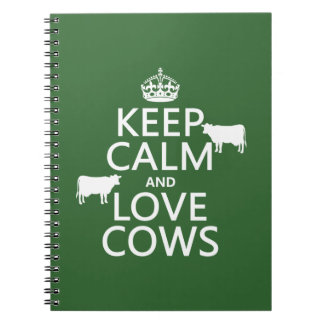 Keep Calm and Love Cows (all colors) Notebook