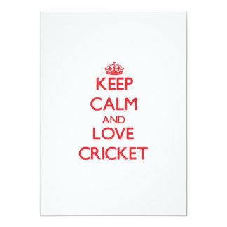 Keep calm and love Cricket 13 Cm X 18 Cm Invitation Card