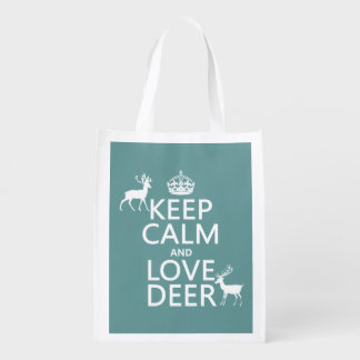 Keep Calm and Love Deer (any background color) Reusable Grocery Bag