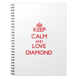 Keep calm and love Diamond Spiral Note Books