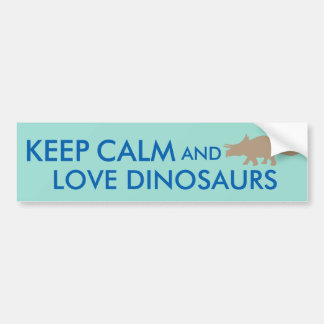 Keep Calm and Love Dinosaurs Triceratops Custom Bumper Sticker