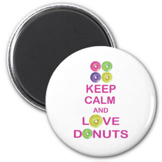 Keep Calm and Love Donuts Unique Doughnut Gift 6 Cm Round Magnet