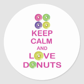 Keep Calm and Love Donuts Unique Doughnut Gift Classic Round Sticker